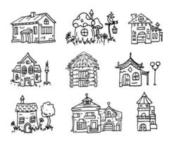 cartoon houses set, black outline buildings collection, magic house, wooden, mushroom silhouette linear illustrations, isolated on white background vector