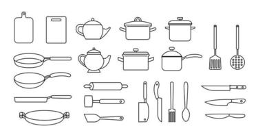 Kitchen utensils, vector black outline set, collection of kitchen utensils, knifes, teapots, cutting boards isolated on white background