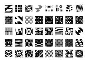 conjunto de muestras en blanco y negro, colección de muestras para fondo, papel tapiz, envoltura, diseño de portada, patrón textil, colección monocromática de plantillas sin costura vector