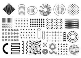 Vector memphis set, collection of flat design elements, circles, pluses, arrows, triangles, patterns set, squares. Vintage memphis elements, different shape funky graphic silhouette 90s