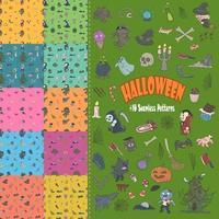 Set of cute Halloween elements with seamless patterns, cartoon, stickers, print, art vector