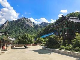 Asian houses of the temple in Seoraksan National Park. South Korea photo