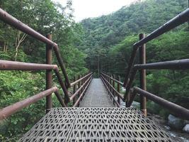 el pequeño puente de hierro en el parque nacional de seoraksan. Corea del Sur foto