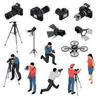 Photographer Isometric Set Vector Illustration
