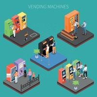 Vending Machines Isometric Composition Vector Illustration