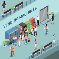 Vending Machines Consumers Isometric Composition Vector Illustration