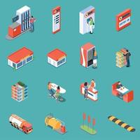 Gas Station Isometric Icons Vector Illustration