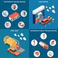 Gas Station Isometric Design Concept Vector Illustration