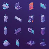 Iot Business Office Isometric Icons Vector Illustration