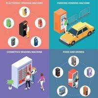 Vending Machines Isometric Design Concept Vector Illustration