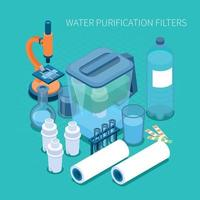 Water Purification Filters Isometric Composition Vector Illustration