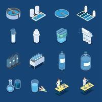 Ilustración de vector de iconos isométricos de sistemas de limpieza de agua