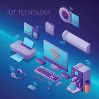 Iot Technology Isometric Composition Vector Illustration