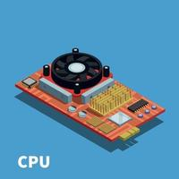 Semiconductor Isometric Poster Vector Illustration