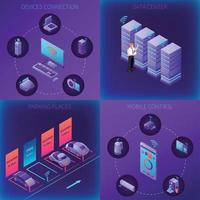 Iot Business Office Isometric Concept Vector Illustration