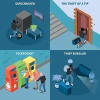 Thief Isometric Design Concept Vector Illustration