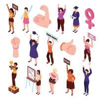 Isometric Feminist Characters Set Vector Illustration