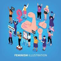 Isometric Feminism Background Composition Vector Illustration