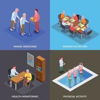 Nursing Home 2x2 Design Concept Vector Illustration