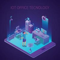 Iot Office Technology Isometric Composition Vector Illustration