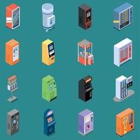 máquinas expendedoras iconos isométricos vector illustration