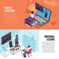 Education Isometric Banners Vector Illustration