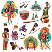 Carnival Brasil Set Vector Illustration