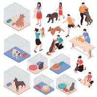Animal Shelter Isometric Set Vector Illustration