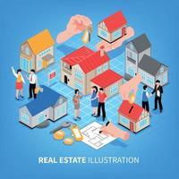 Real Estate Agency Isometric Illustration Vector Illustration
