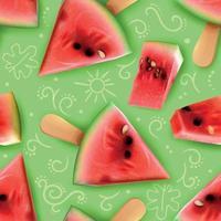 Watermelon Realistic Seamless Pattern Vector Illustration