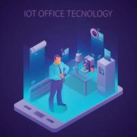 Iot Business Office Isometric Composition Vector Illustration