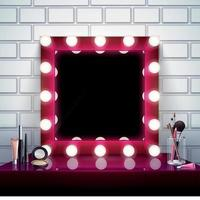 Makeup Mirror Composition Vector Illustration