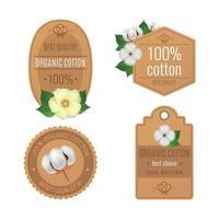 Cotton Emblems Labels Realistic Transparent Icon Set Vector Illustration