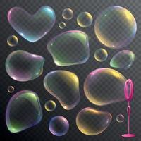 Soap Bubbles Set Vector Illustration