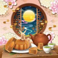 Mid Autumn Festival with Bunnies and Mooncake Concept vector
