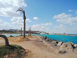 The beautiful view to Red sea in Hurghada city, Egypt photo