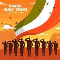 Kargil Vijay Diwas Illustrations vector