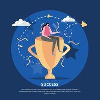 Golden Cup Success Background Vector Illustration