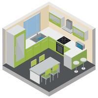 Kitchen Interior Isometric Composition Vector Illustration