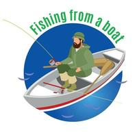 Fishing From Boat Isometric Background Vector Illustration
