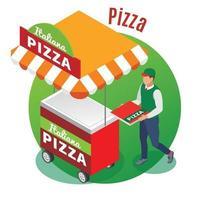 Street Food Pizza Isometric Background Vector Illustration
