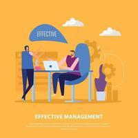 Management Collaborations Flat Background Vector Illustration