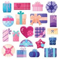 Gifts Boxes And Packages Set Vector Illustration