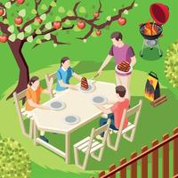 Family Barbecue Isometric Background Vector Illustration