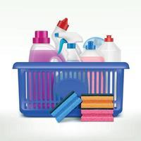 Detergents Shopping Basket Composition Vector Illustration