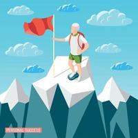 Summited Peak Success Background Vector Illustration