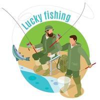 Lucky Fishing Isometric Background Vector Illustration