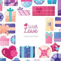 Gifts Boxes Packaging Frame Vector Illustration