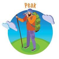 Outdoor Peaks Hiking Background Vector Illustration