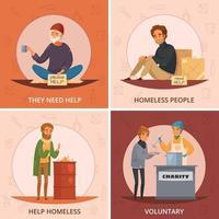 Cartoon Homeless People Icon Set Vector Illustration